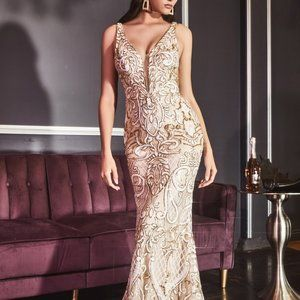 FLARE V-NECK LONG PROM GOWN CDCD934